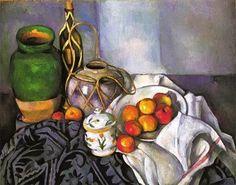 """A """"Natureza morta"""" foi pintada por Paul Cézanne, feita durante os anos de 1890-1894, a obra é óleo sobre tela com dimensões de 74 x 93 cm. Gênero menor: Natureza morta(objetos,nanimados,flores,   louçãs e frutas)."""