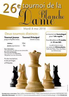 Le Cercle d'#Échecs de #Wintzenheim est heureux de vous inviter à la 26e édition du tournoi d'échecs de la Dame Blanche, le mardi 8 mai