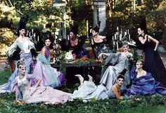 Living up to it's title this editorial was photographed by Steven Meisel and styled by Grace Coddington for Vogue Dec 1996. The Fashions are Christian Lacroix Haute Couture. The models are Amy Wesson, Carolyn Murphy, Elsa Benitez, Guinevere Van Seenus, Kylie Bax, Linda Evangelista, Michelle Behennah, Naomi Campbell and Trish Goff. (via Dustjacket Attic blogspot)