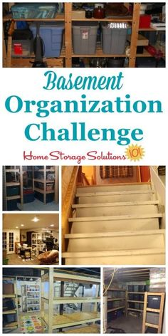 Step by step instructions for basement organization including using zones to help organize the space part of the 52 Week Organized Home Challenge on Home Storage Solutions 101 - March 16 2019 at Garage Storage Solutions, Storage Ideas, Creative Storage, Basement Storage, Organized Basement, Wet Basement, Attic Storage, Basement Stairs, Basement Ideas