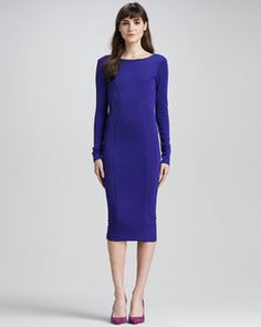 Fall Trends* Purple Reigns~Rayne Backless Zip Dress, Blue by Boulee at Neiman Marcus. I Love Fashion, High Fashion, Womens Fashion, Neiman Marcus Dresses, Blue Dresses, Dresses For Work, Purple Reign, Fall Trends, Backless