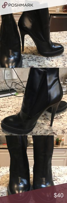 Zara Black Heeled Bootie These boots are HOT. Not only are the comfortable and gently worn, but they can really elevate an outfit!   I only wore these once or twice and they have only light signs of wear such as some scuffing on the exterior. Zara Shoes Ankle Boots & Booties