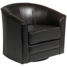 Keller Espresso Bonded Leather Swivel Club Chair - Lamps Plus