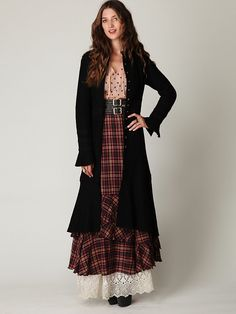 Free People Heritage Wool Coat at Free People Clothing Boutique - Victorian-inspired maxi wool coat with lace overlay and double button placket front. Button detail at sleeve cuffs. Maxi Coat, Coat Dress, Modest Fashion, Boho Fashion, Long Black Sweater, Mode Simple, Grunge, Free People Clothing, Bohemian Mode