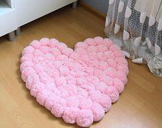 Pom Pom alfombra - tapete romántico - chicas salón alfombra - regalos bebe - alfombra rosa Shabby - alfombra de cuarto de niños - regalo recién nacido - alfombra rosa - corazón alfombra