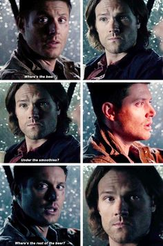 """11x04 Baby [gifset] - """"Where's the beer?"""" """"Under the smoothies?"""" - Sam does such a great confused puppy face here. XD - Sam & Dean Winchester; Supernatural"""
