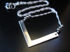 Silver V Necklace Silver Minimalist Necklace Hand by PumpkinBeads