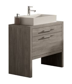 Montreal 24-inch Bathroom Vanity Cabinet Set, Joplin Oak Thermo-laminated Finish, Vessel Sink Countertop, Made in Spain (European Brand) - - Amazon.com