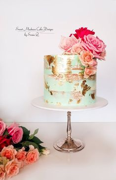 Ideas cake wedding turquoise pink for 2019 25th Birthday Cakes, Homemade Birthday Cakes, 40th Cake, Buttercream Decorating, Cake Decorating, Turquoise Cake, Wedding Turquoise, Gold Leaf Cakes, Green Cake