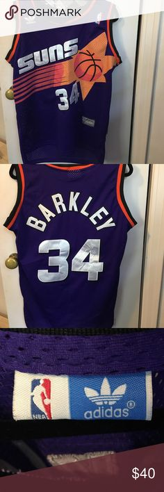 genuine sewn phoenix suns basketball jersey! this is a charles barkley jersey, number 34. could be worn as a shirt, but it's long enough to be a dress as well! #jersey #nba #suns #basketball #dress #sewnjersey #barkley #phoenixsuns adidas Shirts Tank Tops