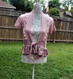 Altered Women's Knited Pink Shug Top, Altered Couture, Maglonia Pearl Style, Shabby Chic, Large, Romantic, Rose Ruffled Shurg, Womens Top by CrossMyHeartBags on Etsy