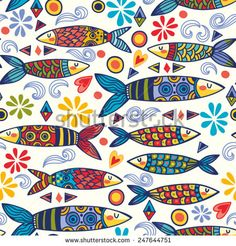 Bright and amazing Portugal pattern of ornamental sardines and graphic elements.