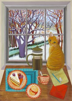 A Welcome Visitor by Melissa Launay, Fine Art Greeting Card, Gouache on Paper, Cat on table watching birds outside the window Illustrations, Illustration Art, Greeting Cards Uk, Ginger Cats, Naive Art, Cat Drawing, Beautiful Paintings, I Love Cats, Cat Art