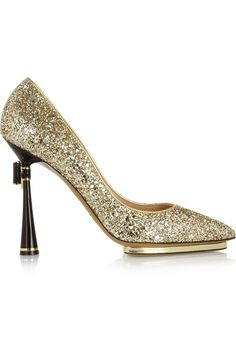 Nicholas Kirkwood Glitter-finished leather pumps, with bow at heel.