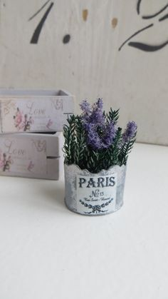 A dollhouse miniature lavender in a pot.