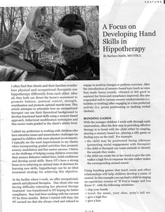 A Focus on Developing Hand Skills in Hippotherapy - recommended by @Barbara Smith of http://horseot.blogspot.com