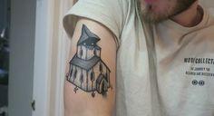 Pewdiepie's new church tattoo #Pewdiepie #Felix #Kjellberg #tattoos #ink #tattoo #black #and #white #church #creepy #blackwork #tats #pewds #poods #Swedish #artist #details #YouTube #YouTubers #awesome #dope #cool #B&W