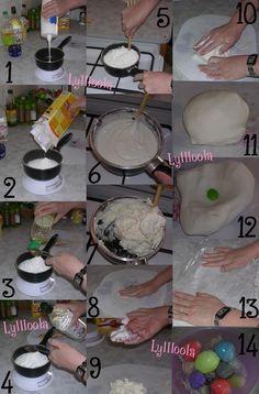 La recette de la porcelaine froide (PAM) -200g de colle vinylique (moi j'utilise la BIB extra forte de la marque Giotto) -140g de farine de Maïs -1 à 2 cuillère à soupe d'huile de colza (souplesse) -1 cuillère à soupe de vinaigre blanc(conservation) -de la crème nivea -de la gouache ou de la peinture acrylique -une petite casserole anti adhésive (qui ne sert qu'à ça) -un manche de cuillère en bois ou autre mais solide -film alimentaire