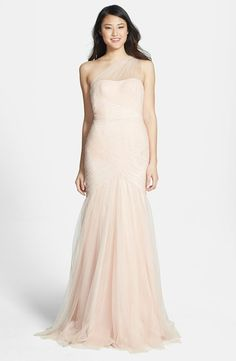 This #elegant one-shoulder #tulle trumpet gown by ML Monique Lhuillier can be purchased at Nordstrom for less than $600! This is the perfect dress for a #tropical #destination wedding