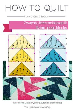 How to quilt free motion quilting flying geese blocks. Great direction and more tutorial on the blog