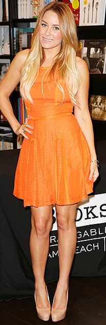 lauren conrad - orange haryln dress & nude brain atwood heels.