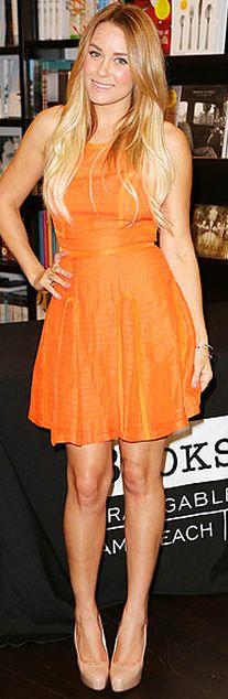 lauren conrad - orange haryln dress & nude brain atwood heels.