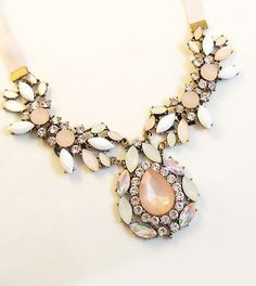 Elegant Diamante Colored Faux Gemstone Embellished Waterdrop Shape Pendant Necklace For Women (AS THE PICTURE) | Sammydress.com
