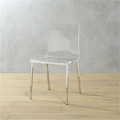 "vapor acrylic chair  | CB2.  Thick molded acrylic seat and back. Chrome-plated steel frame.  Overall Dimensions: Width: 18"" Depth: 18"" Height: 32.5""   Seat: Width: 18"" Depth: 15.5"" Height: 17.5""   Clearance: Width: 17"" Depth: 16"" Height: 17.5"