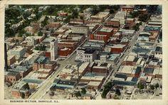 Danville, IL - Downtown Business Section - Vintage Postcard - 8.22.1925?