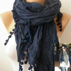 Blue Women Shawl Scarf  Headband Necklace Cowl by fatwoman on Etsy, $14.90