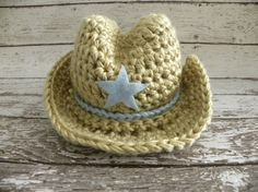 Crochet Cowboy hat ONLY in tan and baby by TrebleStitchBoutique, $22.00