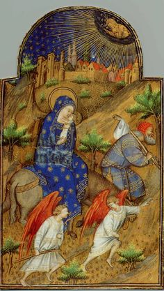 Miniature of the Flight, from a French Book of Hours. Mary raises the child to her lips to kiss it. A ruddy-faced Joseph, with his possessions in a bundle on a stick, seems to be leading the donkey at a good pace, the sense of pace augmented by the escort of two pedestrian angels in the foreground,while God the Father looks down from above.