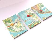 Map notebook covers with button