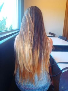long ombre hair, beautiful color