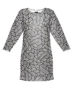 Black and white swirls doodles Sweatshirt Dress by @savousepate on @printalloverme
