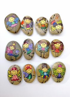 Little funny tooth fairies, Gift for girl, Hand painted pebble, Natural beauty Rock Painting Ideas Easy, Rock Painting Designs, Paint Designs, Pebble Painting, Pebble Art, Stone Painting, Tooth Fairy Receipt, Tooth Fairy Certificate, Painted Rocks
