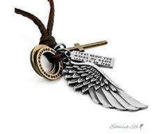 Anhänger Flügel & Kreuz  inkl. verstellbarer Leder Kette