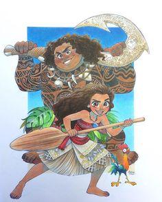 Finally finished! Maui's tattoos took forever... #chihirohowe #sakurajoker #disney #moana #heihei #maui #disneymoana #disneyanimation #polynesia #copicmarkers #copicsketch #copic