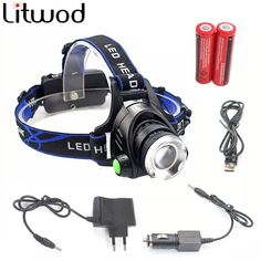 Flashlight - LED Headlight - 2800 LM - T6 Headlamp - Zoom - Adjustable - Camping, Hiking, Biking, Hiking, Work