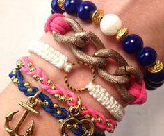 Bracelet Stack Set in Navy and PInk Etsy