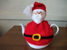 Hand Knitted Santa Tea Cosy For A 2 Pint (4-6 cups) Teapot by Kerryshandmadeknits on Etsy