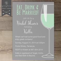 Eat Drink and be Married Bridal Shower / Bachelorette Party Invites / Invitations / Wine Tasting / Girls Night / DIY Printable / Cocktails on Etsy, $17.99