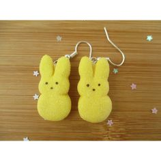 Yellow Bunny Peeps Earrings, Easter, Handmade Polymer Clay Kawaii ($11) ❤ liked on Polyvore featuring jewelry, earrings, animals, bunnies, whimsical, women, multi colored earrings, tri color jewelry, animal jewelry and bunny jewelry
