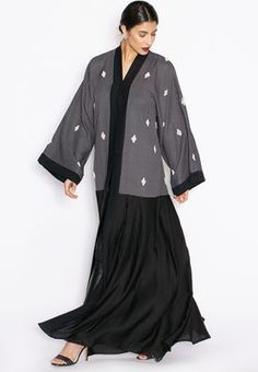 Shop Hayas closet grey Colourblock Embellished Abaya for Women in UAE