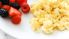 These perfect fluffy scrambled eggs make for a healthy, quick and easy breakfast every time. Naturally low in carbs, keto, and gluten-free. Clean Eating Recipes, Raw Food Recipes, Low Carb Recipes, Healthy Recipes, Quick And Easy Breakfast, Low Carb Breakfast, Breakfast Recipes, Fluffy Scrambled Eggs, Dessert Recipes For Kids