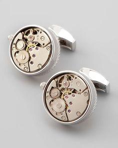 Tateossian Round Mechanical Watch Gear Cuff Links