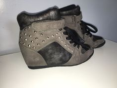 433175bfc361 g by guess studded raurie glitter wedge sneakers Grey Size 8 1 2 Rare Sold