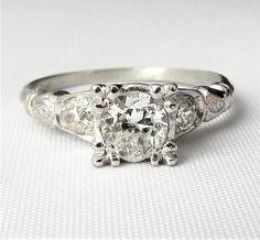 PLATINUM Art Deco Diamond Engagement Ring .69 CTW