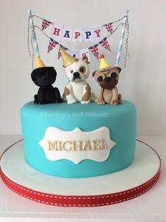 Pug and bulldog birthday cake with bunting …