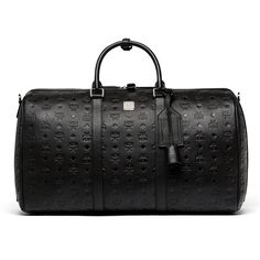 MCM Ottomar Weekender In Monogrammed Leather ($1,210) ❤ liked on Polyvore featuring men's fashion, men's bags, mens leather overnight bag, mens leather weekend bag, mens leather weekender bag, men's weekend travel bag and mens overnight travel bag